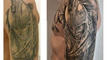 Předělávka tetování - řecký bojovník